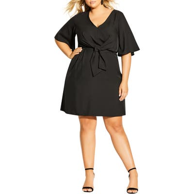 Plus Size City Chic Knot Front Fit & Flare Dress, Black