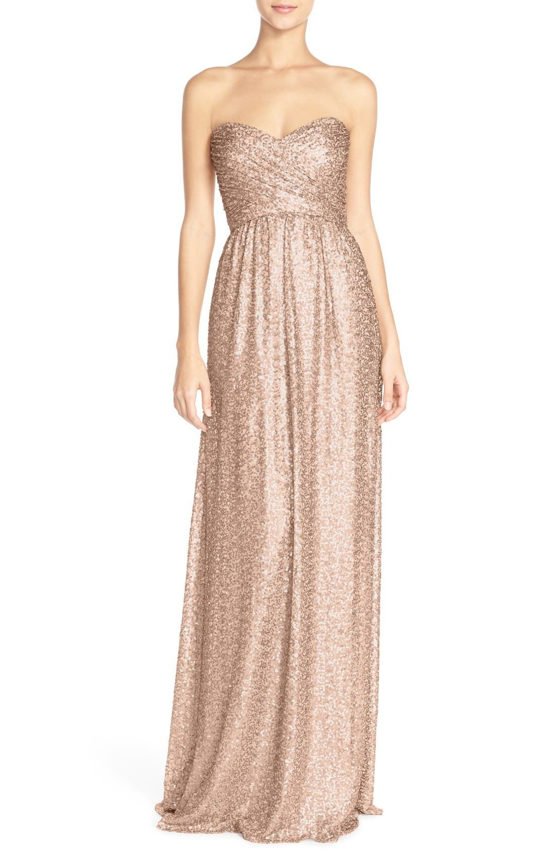 ,                             'London' Sequin Tulle Strapless Column Gown,                             Main thumbnail 8, color,                             261