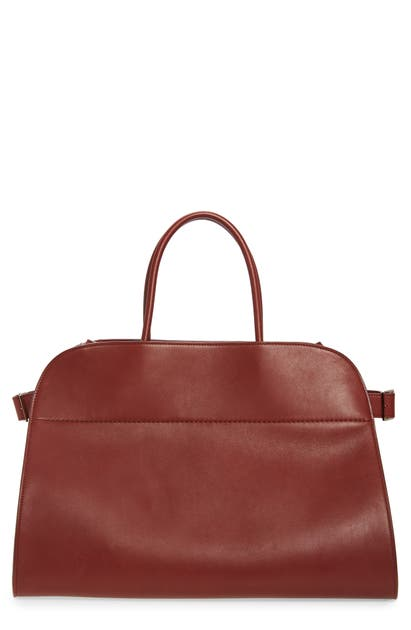 The Row Margaux 17 Leather Bag In Dark Berry