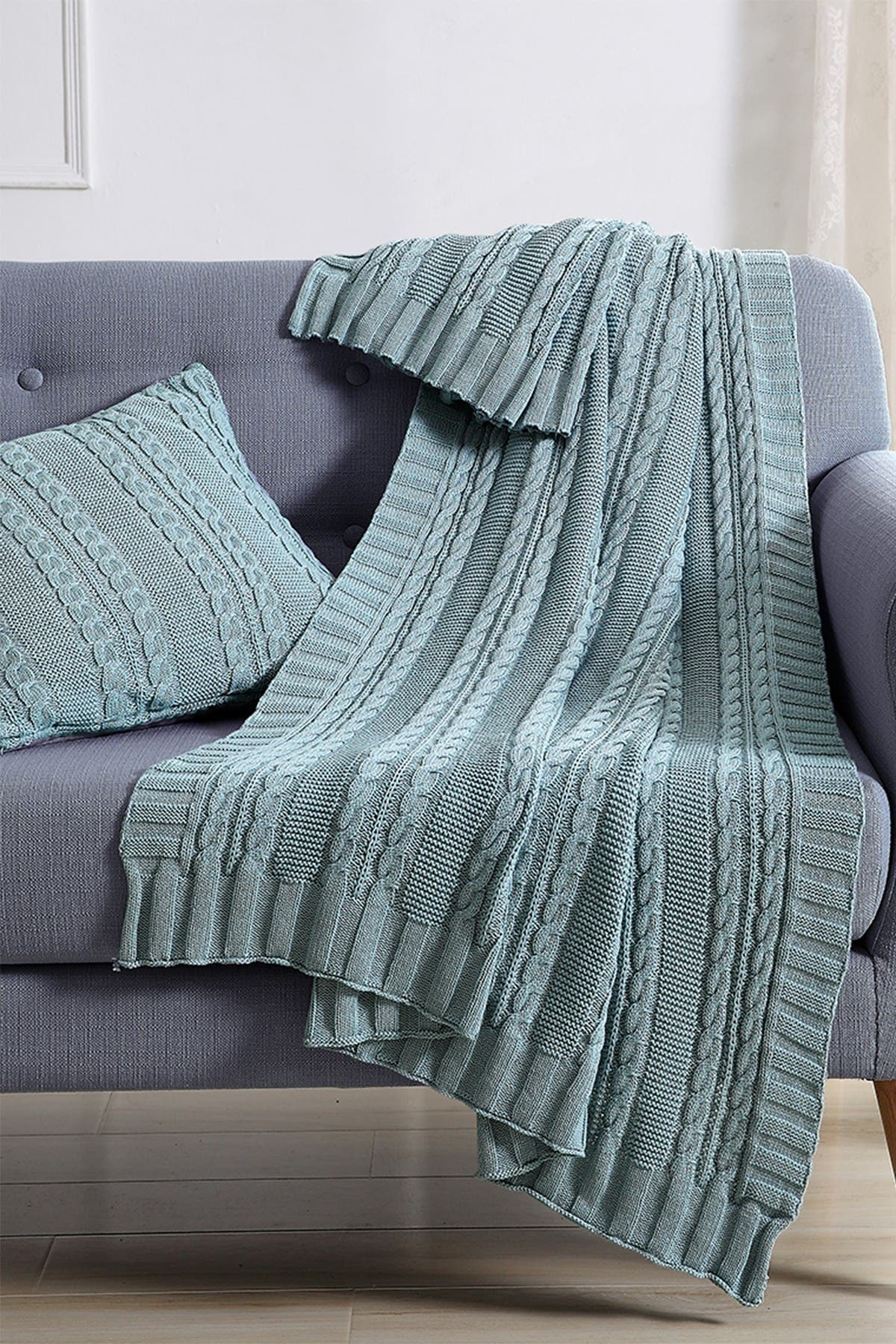 Image of VCNY HOME Dublin Cable Knit Throw Blanket - Blue