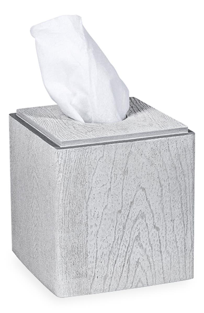 DKNY Grey Wood Tissue Box Cover, Main, color, GREY