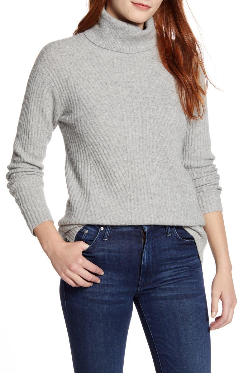 CASLON<SUP>®</SUP> Textured Turtleneck Sweater, Main, color, GREY HEATHER