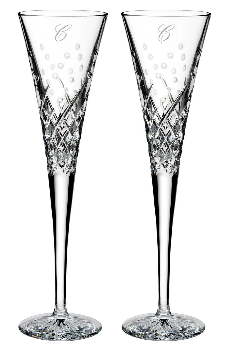 WATERFORD Happy Celebrations Set of 2 Monogram Lead Crystal Champagne Flutes, Main, color, CLEAR - C