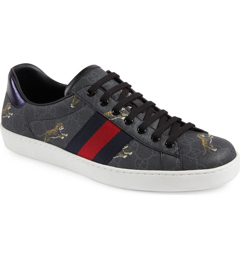 GUCCI New Ace Tiger Print GG Supreme Sneaker, Main, color, BLACK