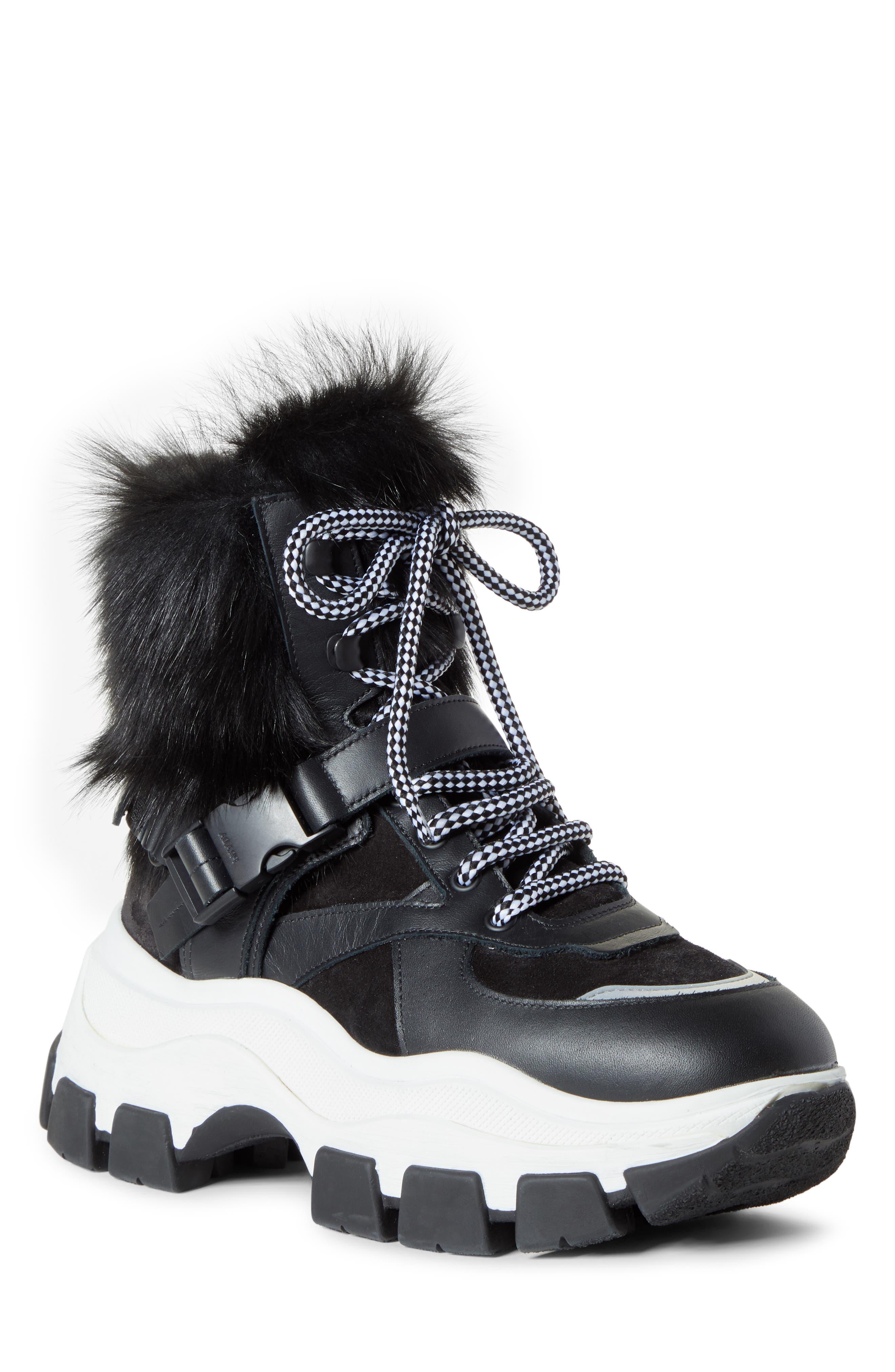 Prada Boots Genuine Shearling Platform Boot