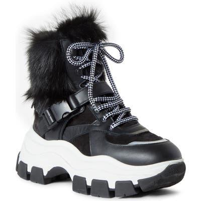 Prada Genuine Shearling Platform Boot - Black
