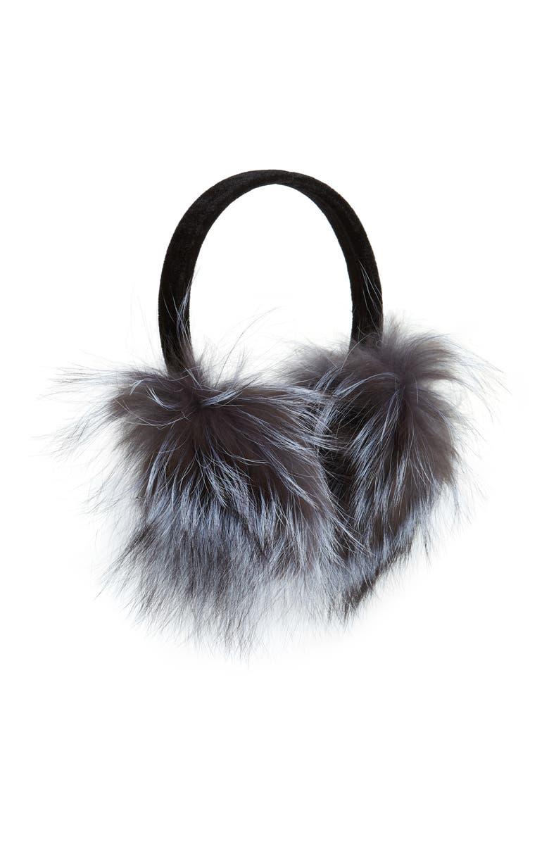 KYI KYI Genuine Fox Fur Earmuffs, Main, color, SILVER FOX
