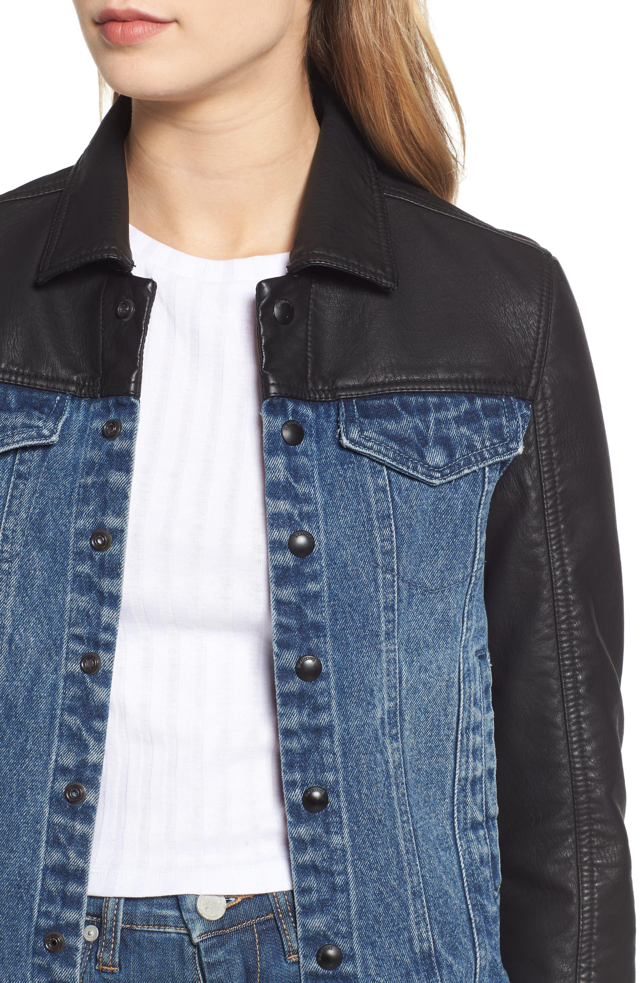 ,                             Faux Leather & Denim Jacket,                             Alternate thumbnail 7, color,                             001