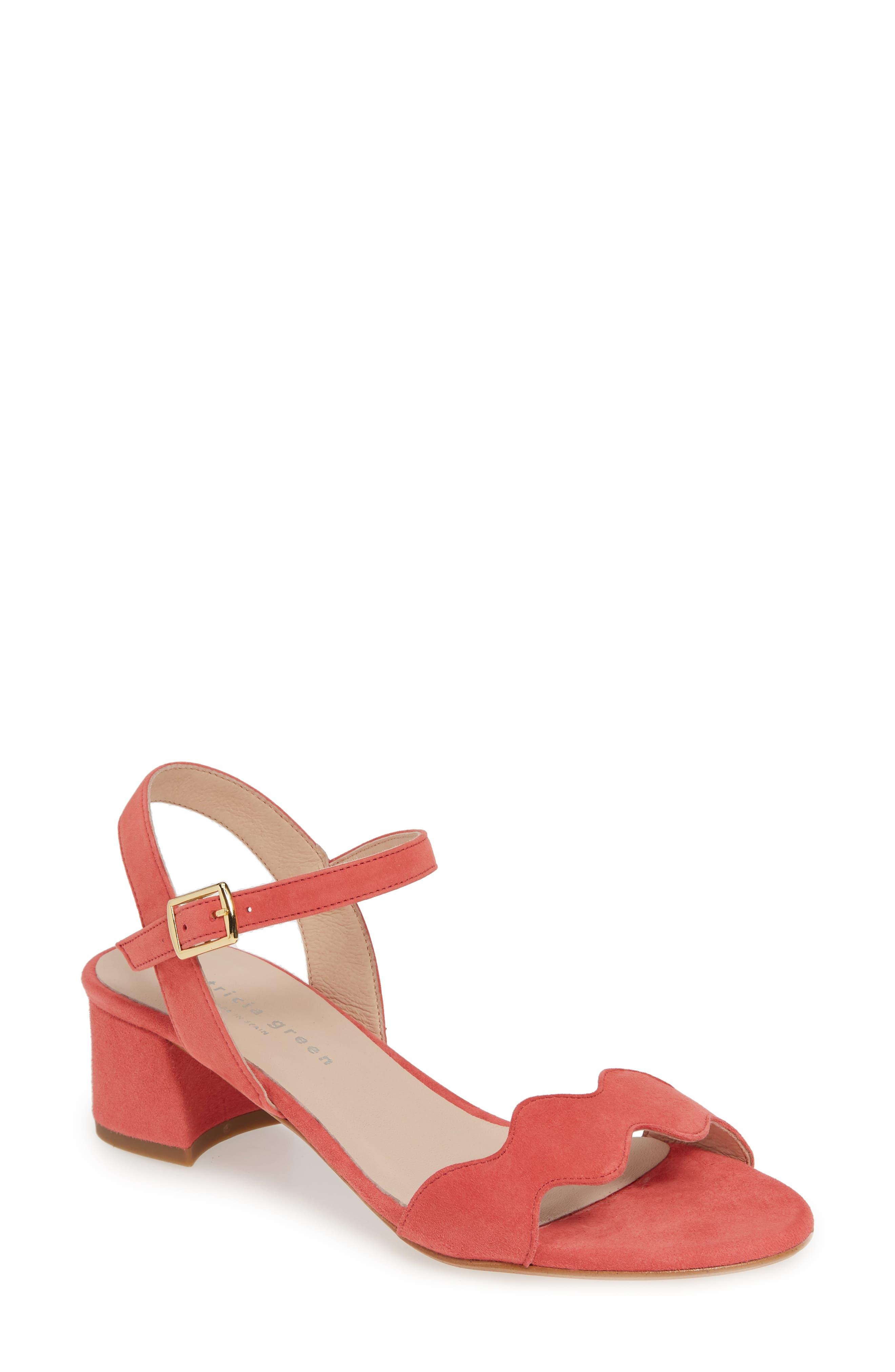 Patricia Green Gina Block Heel Sandal, Coral
