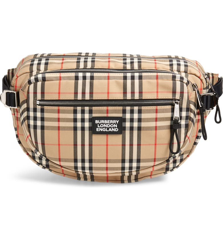 BURBERRY Large Canon Vintage Check Belt Bag, Main, color, ARCHIVE BEIGE