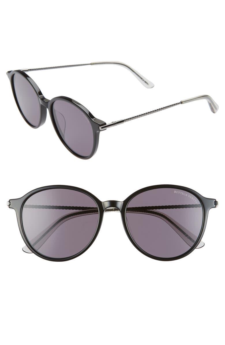 BOTTEGA VENETA 55mm Round Sunglasses, Main, color, BLACK/ GREY