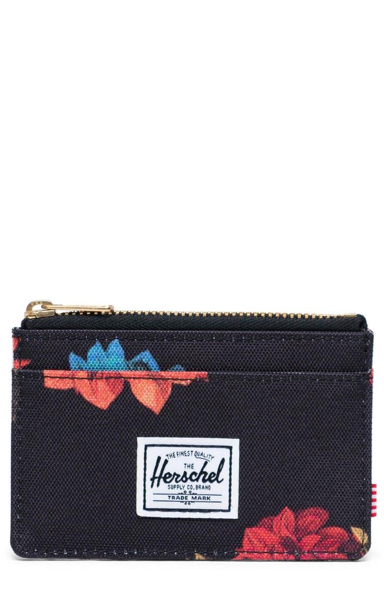 HERSCHEL SUPPLY CO. Oscar RFID Card Case, Main, color, VINTAGE FLORAL BLACK