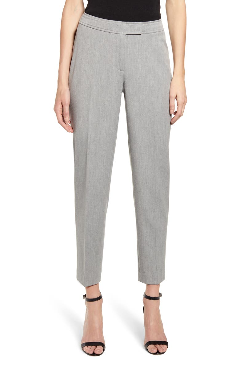 ANNE KLEIN Stretch Twill Pants, Main, color, HEATHER GREY
