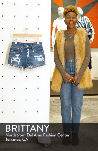 501<sup>®</sup> Ripped High Waist Cutoff Denim Shorts, sales video thumbnail