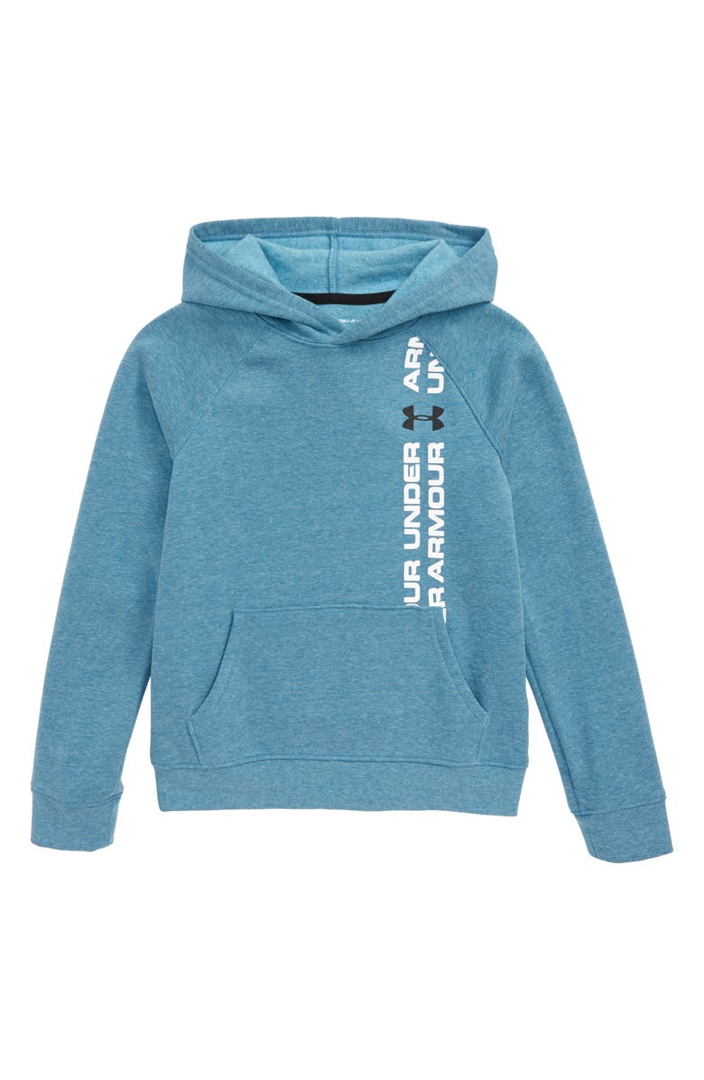 UNDER ARMOUR Rival Wordmark Pullover Hoodie, Main, color, TEAL VIBE LIGHT HEATHER
