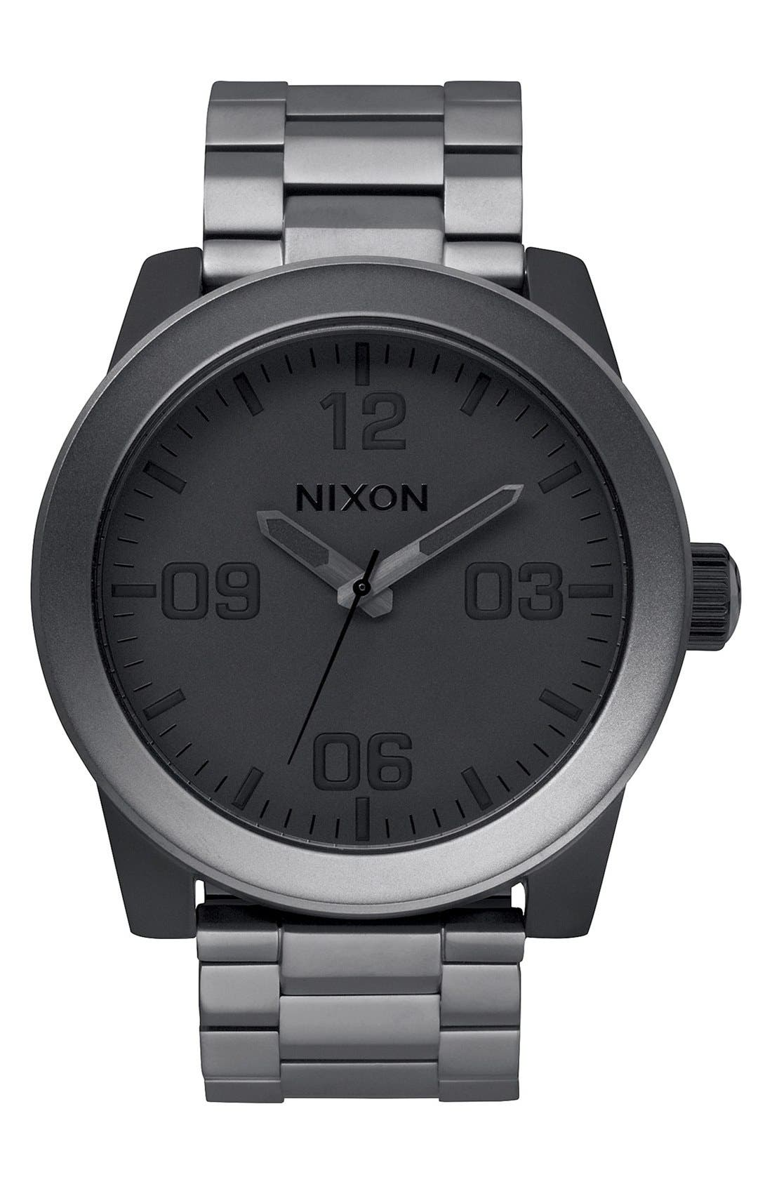 ,                             'The Corporal' Bracelet Watch, 48mm,                             Main thumbnail 1, color,                             GUNMETAL