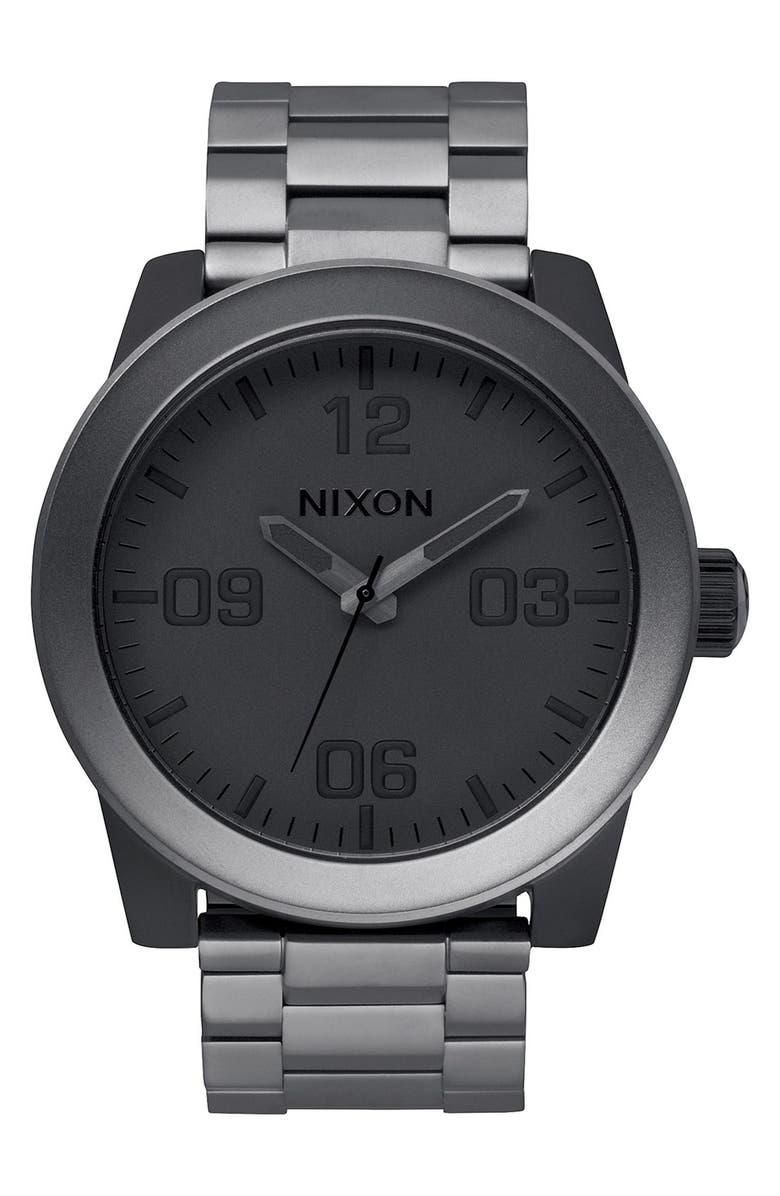 NIXON 'The Corporal' Bracelet Watch, 48mm, Main, color, GUNMETAL