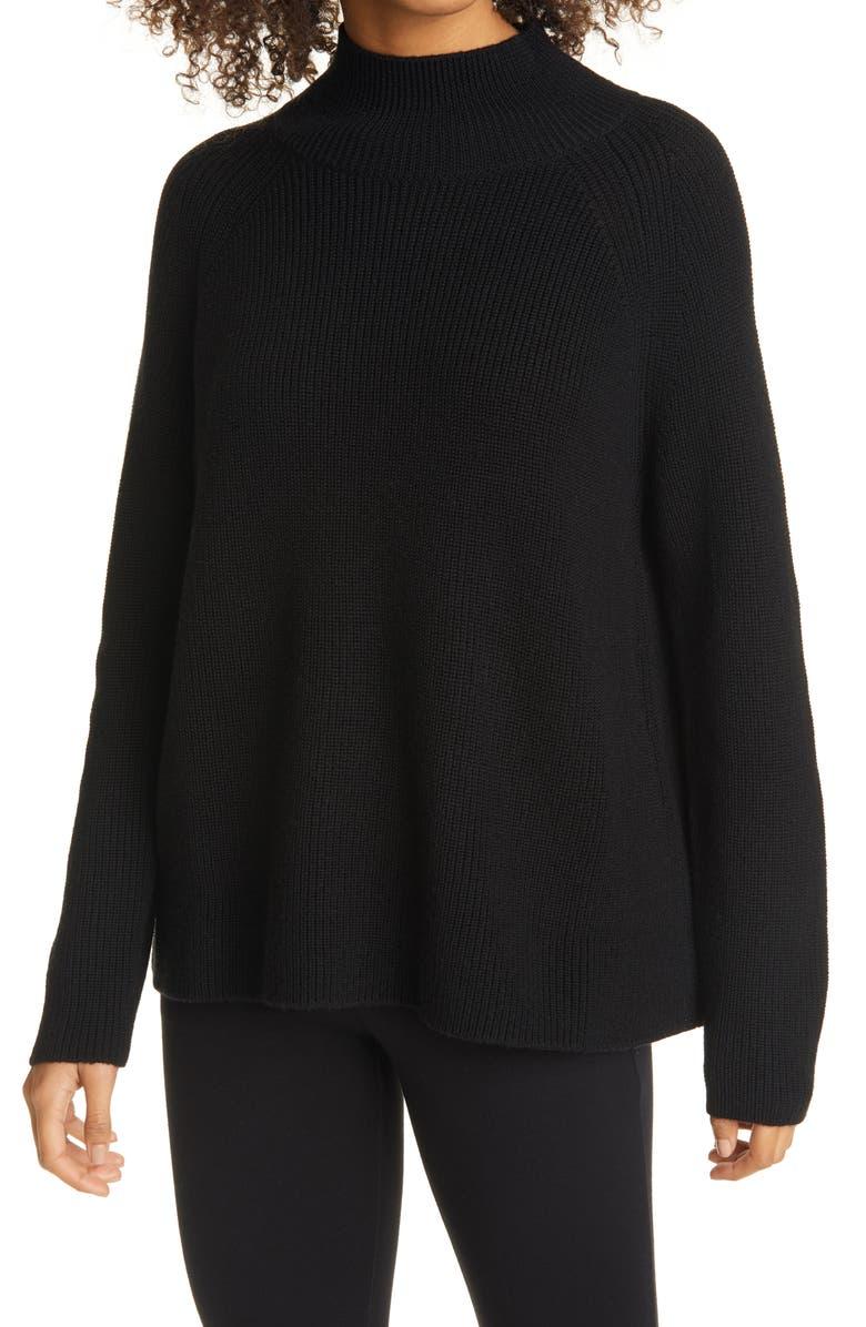EILEEN FISHER Raglan Sleeve Merino Wool Turtleneck Sweater, Main, color, BLACK
