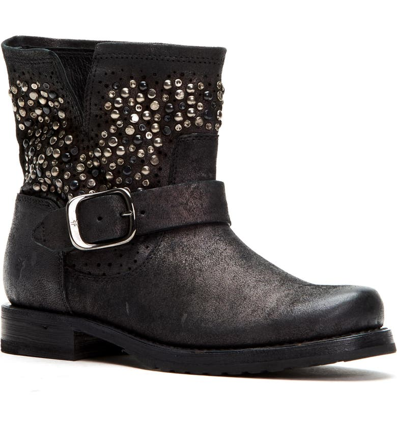 FRYE Veronica Deco Studded Bootie, Main, color, BLACKBERRY LEATHER