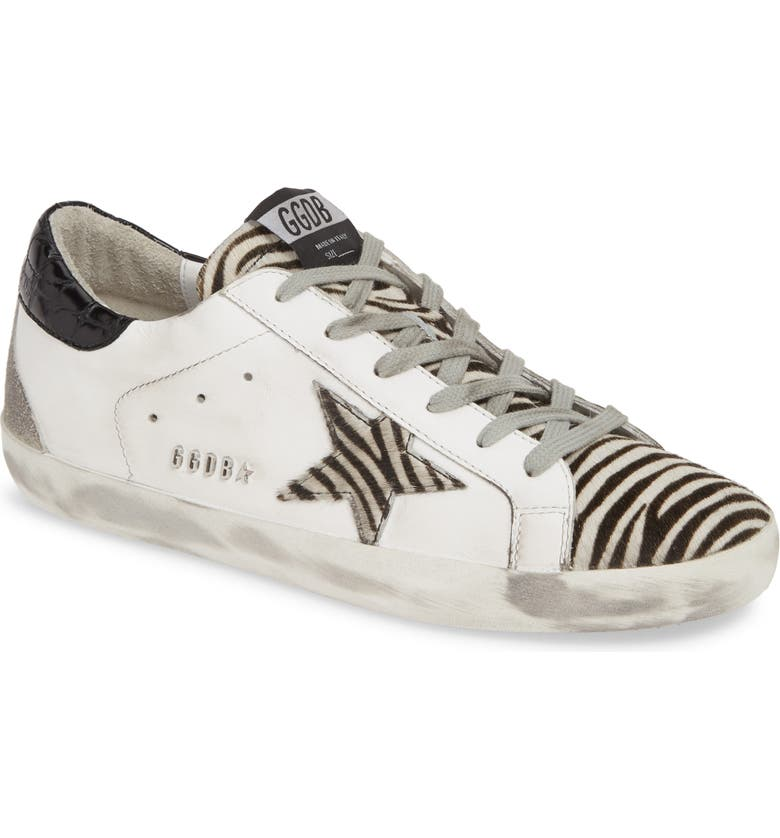 GOLDEN GOOSE Superstar Genuine Calf Hair Sneaker, Main, color, WHITE LEATHER/ ZEBRA