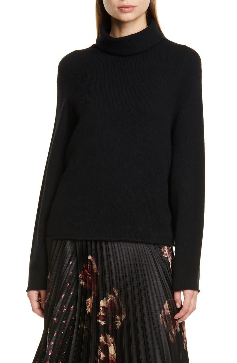 VINCE Seamless Cashmere Turtleneck Sweater, Main, color, BLACK