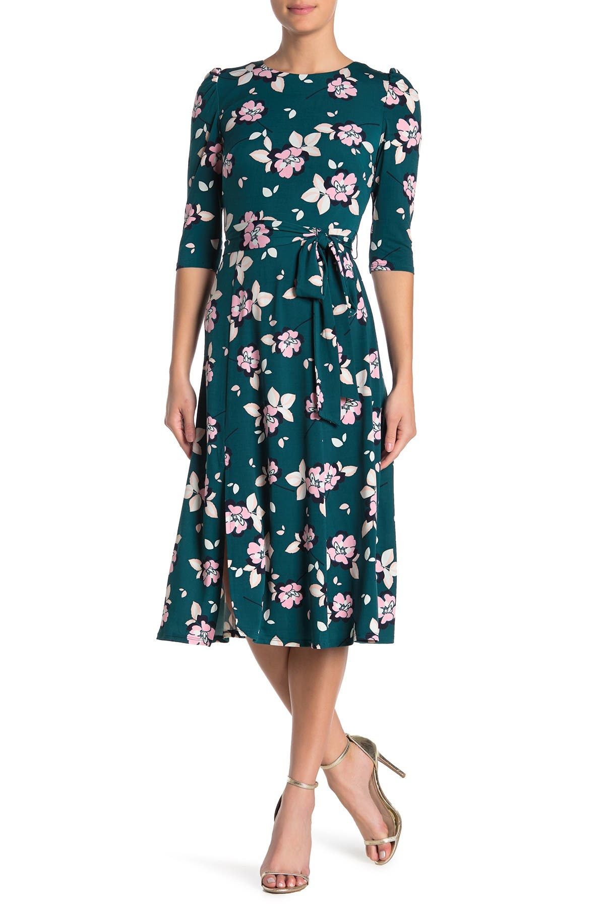 Eliza J PRINTED QUARTER SLEEVE FLORAL MIDI DRESS