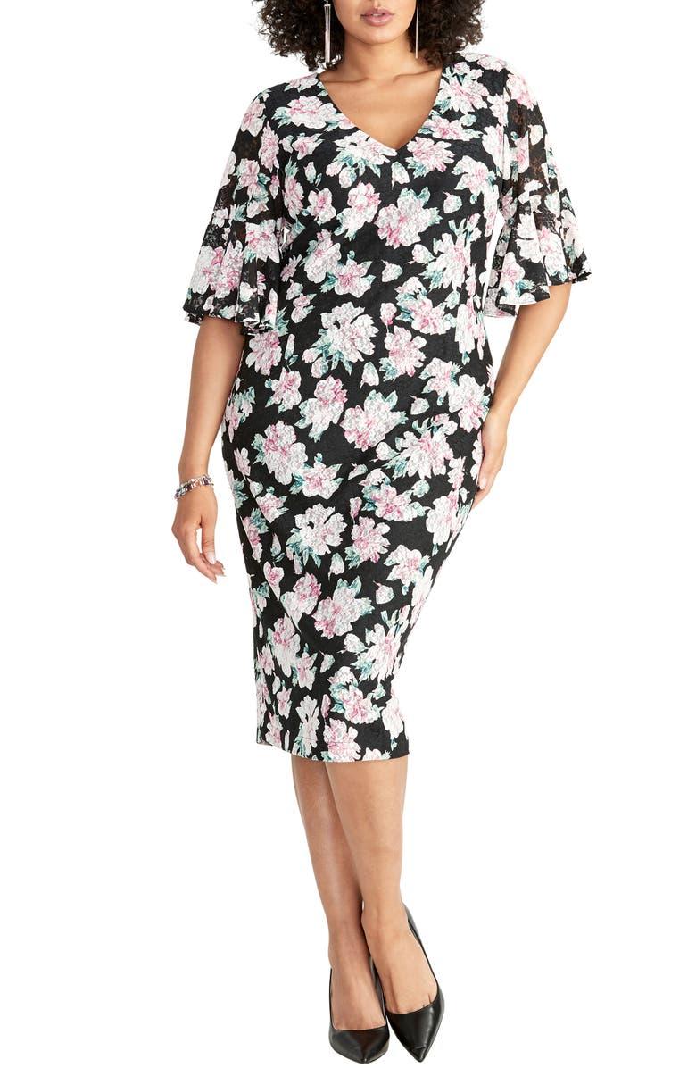 RACHEL RACHEL ROY Ruffle Sleeve Lace Sheath Dress, Main, color, 001