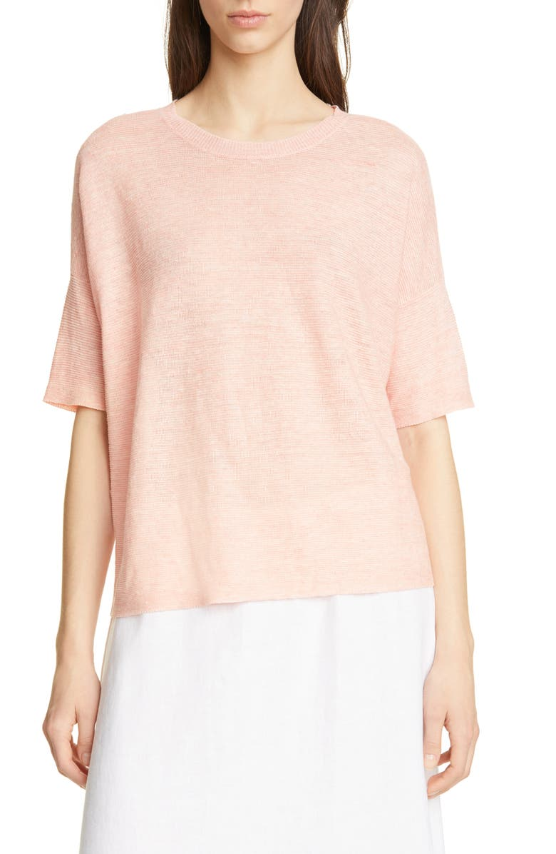 EILEEN FISHER Elbow Sleeve Boxy Linen Sweater, Main, color, 832