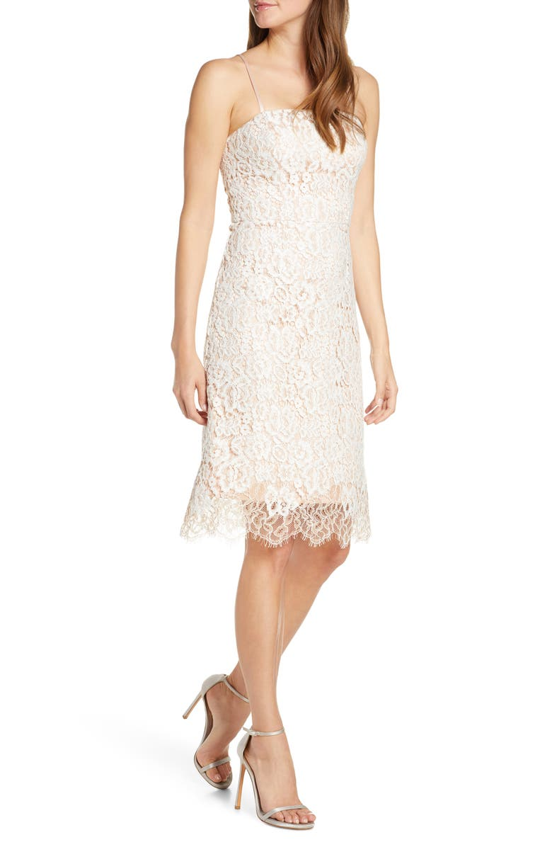 ELIZA J Lace Cocktail Dress, Main, color, IVORY BEIGE