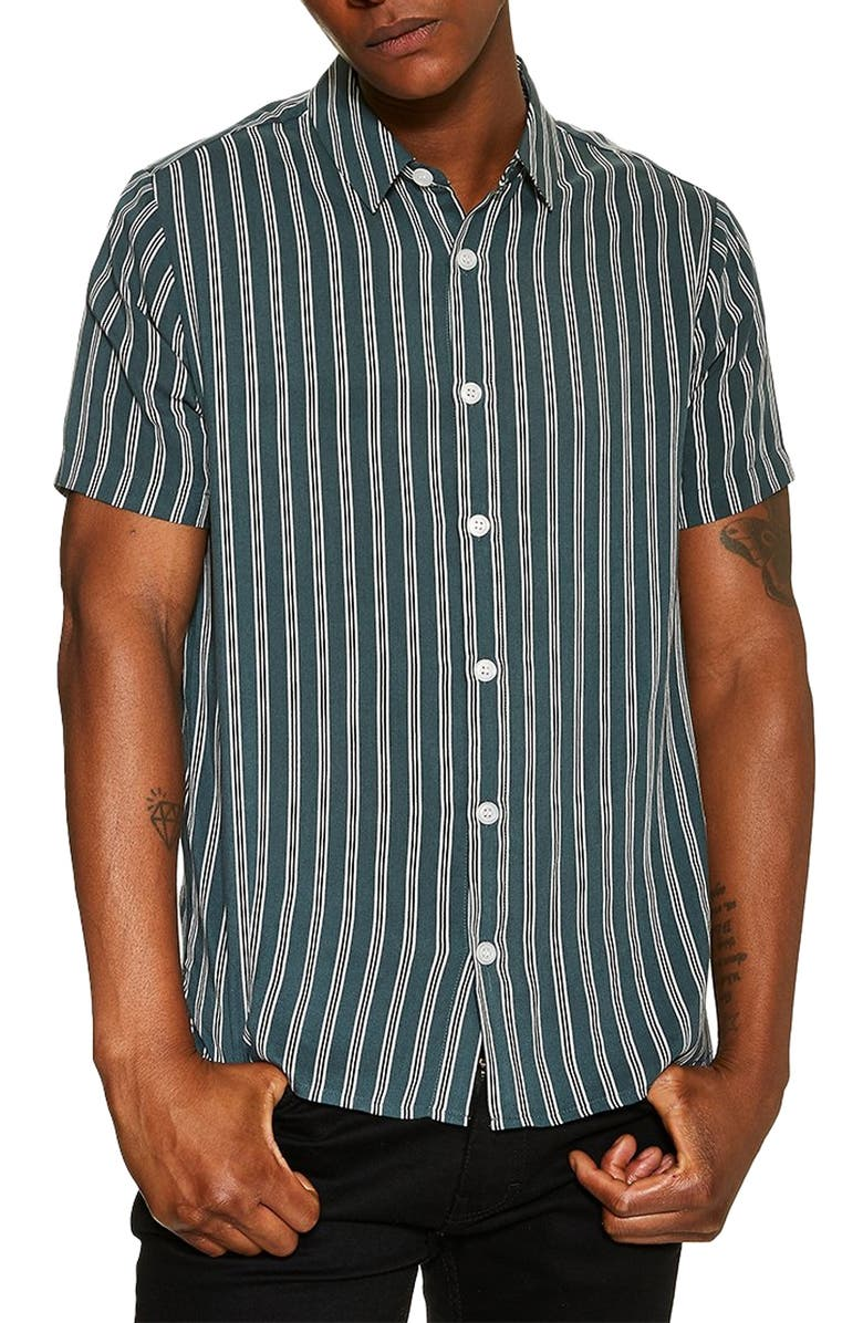 TOPMAN Short Sleeve Stripe Slim Fit Shirt, Main, color, GREEN MULTI