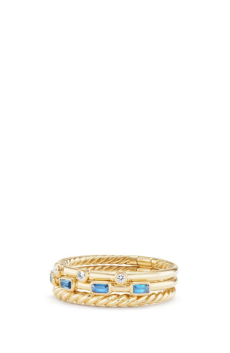 DAVID YURMAN Novella 3-Row Ring with Diamonds, Main, color, GOLD/ DIAMOND/ BLUE SAPPHIRE