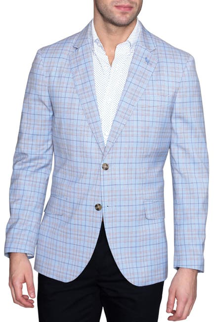 Image of TailorByrd Blue Plaid Two Button Notch Lapel Modern Fit Sport Coat