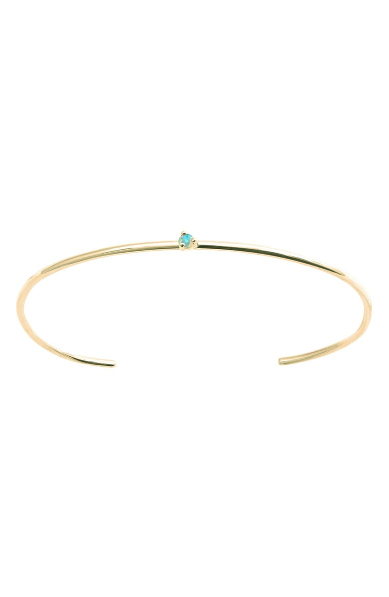 WWAKE Botany Collection Single Opal Cuff, Main, color, YELLOW GOLD/ OPAL