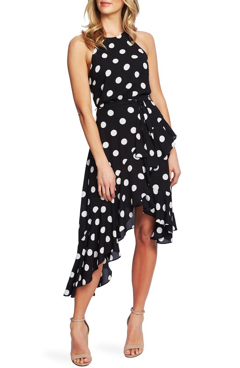 CECE Dappled Dot Cascade Ruffle Sleeveless Dress, Main, color, 006