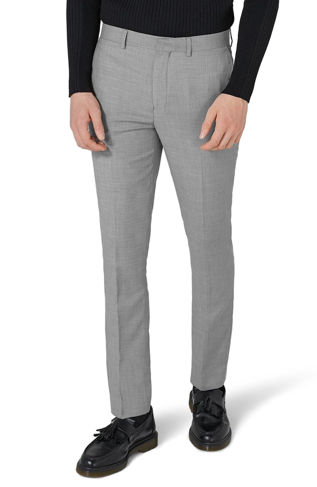 Como Skinny Fit Grey Suit Pants, Main, color, GREY
