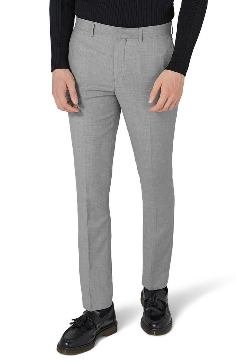 TOPMAN Como Skinny Fit Grey Suit Pants, Main, color, GREY