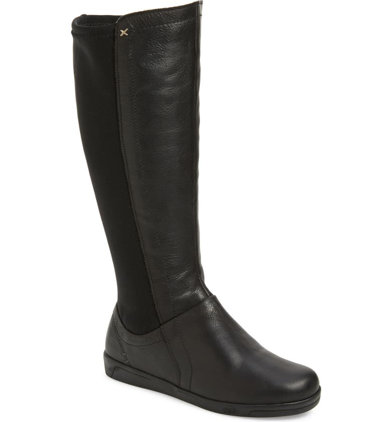 CLOUD Adventurer Knee High Boot, Main, color, BLACK LEATHER