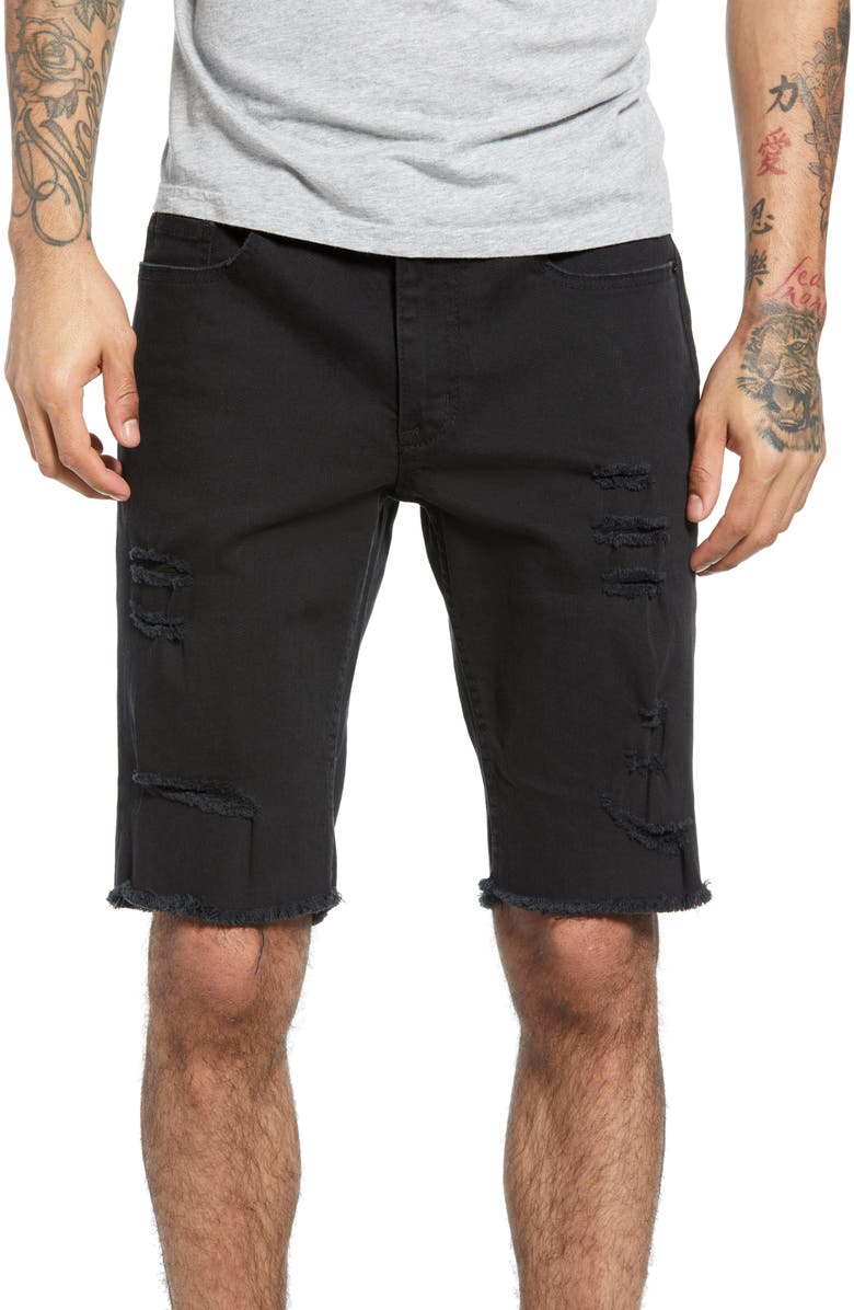 THE RAIL Ripped Denim Shorts, Main, color, BLACK STONE WASH