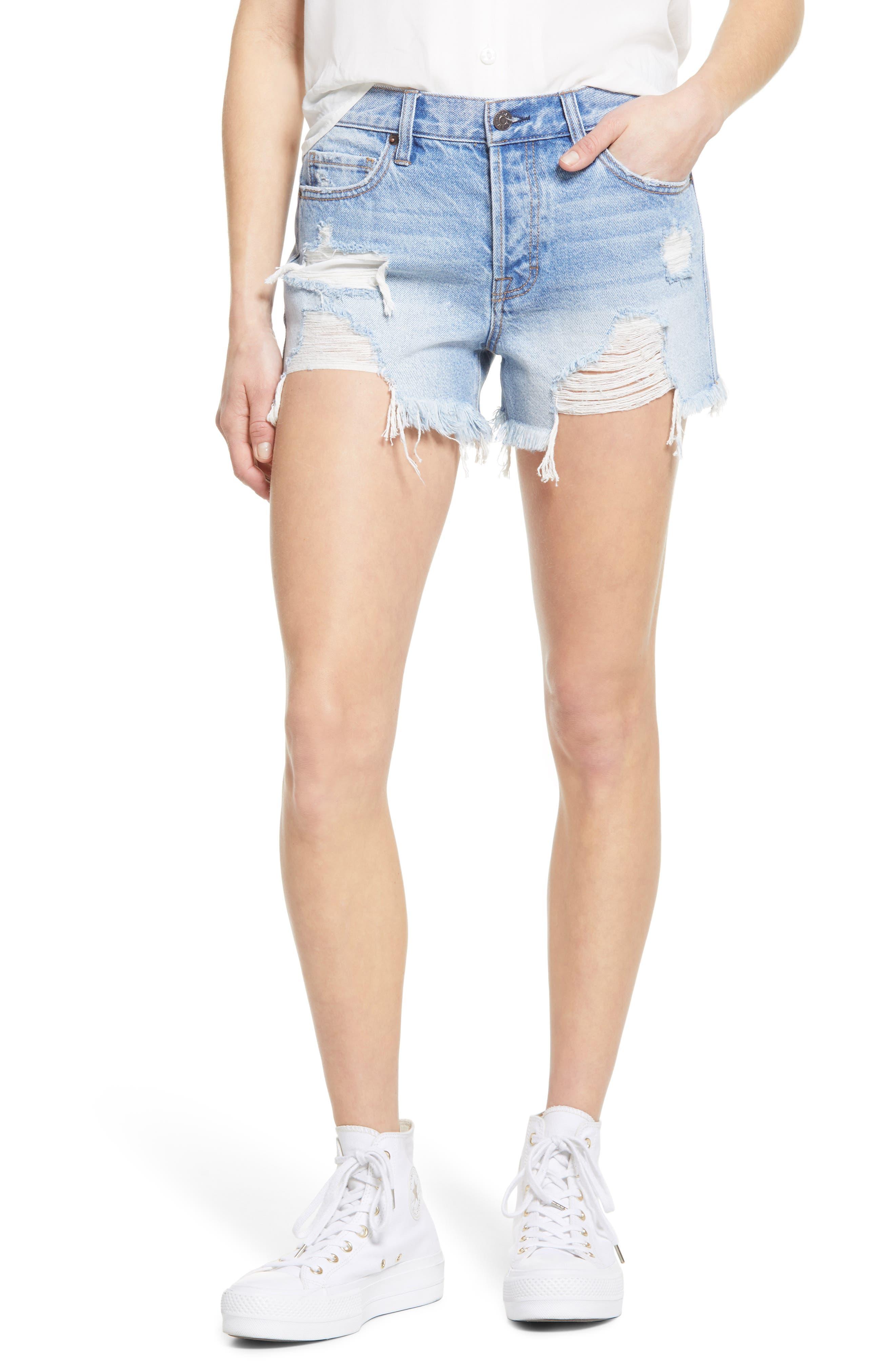 Destroyed Nonstretch Denim Cutoff Shorts