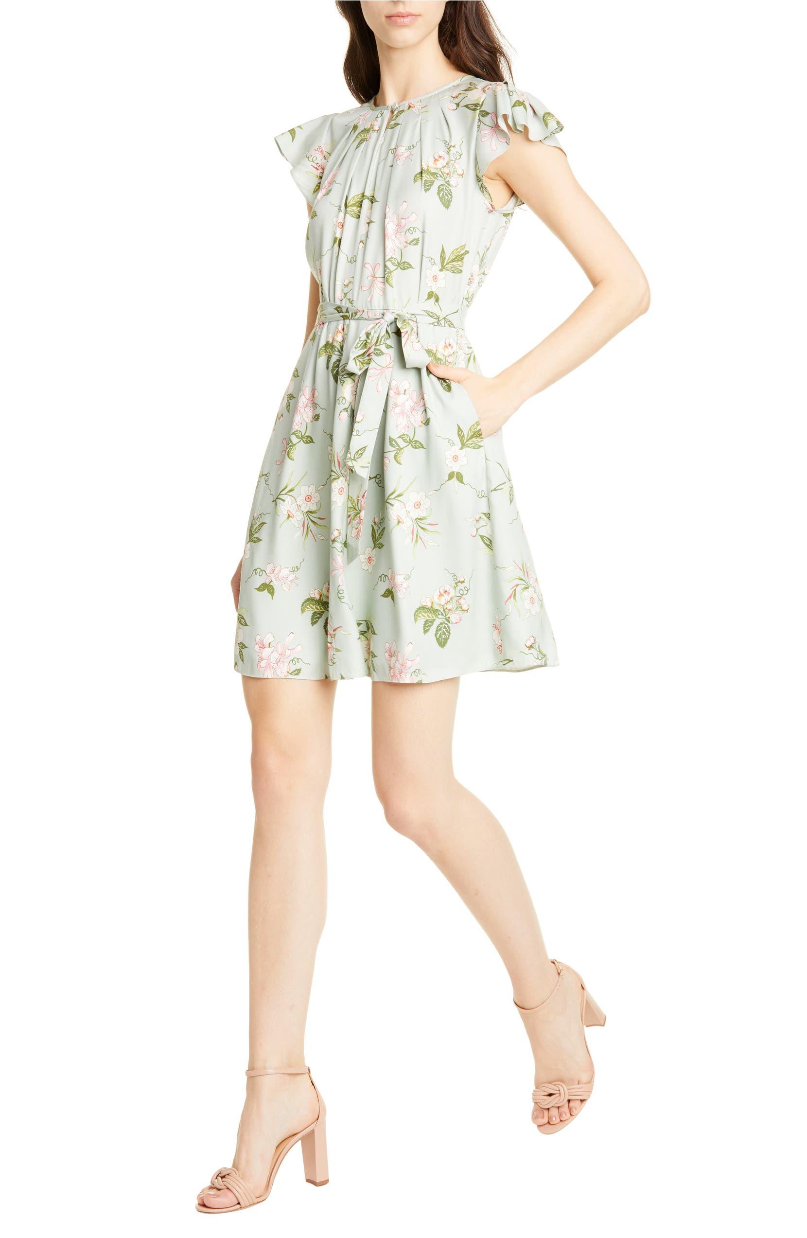 a2545944b42fd Rebecca Taylor Lita Floral Print Silk Blend Dress | Nordstrom