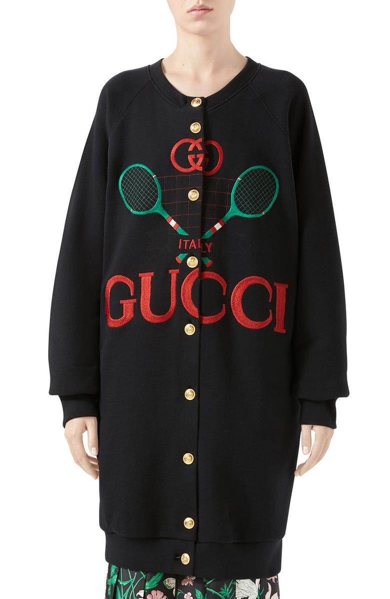 Gucci Tennis Embroidered Reversible Cardigan Sweatshirt