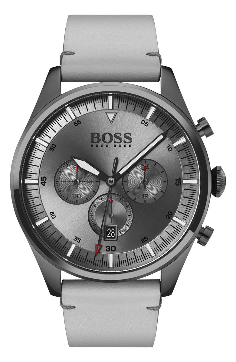 BOSS Pioneer Chronograph Leather Strap Watch, 44mm, Main, color, EARTH/ GUNMETAL