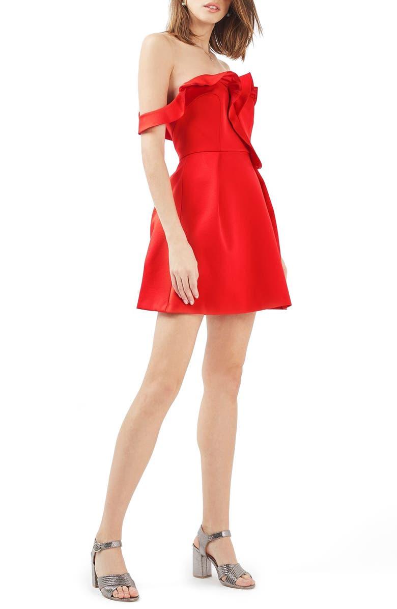 TOPSHOP Bardot Ruffle Minidress, Main, color, 600