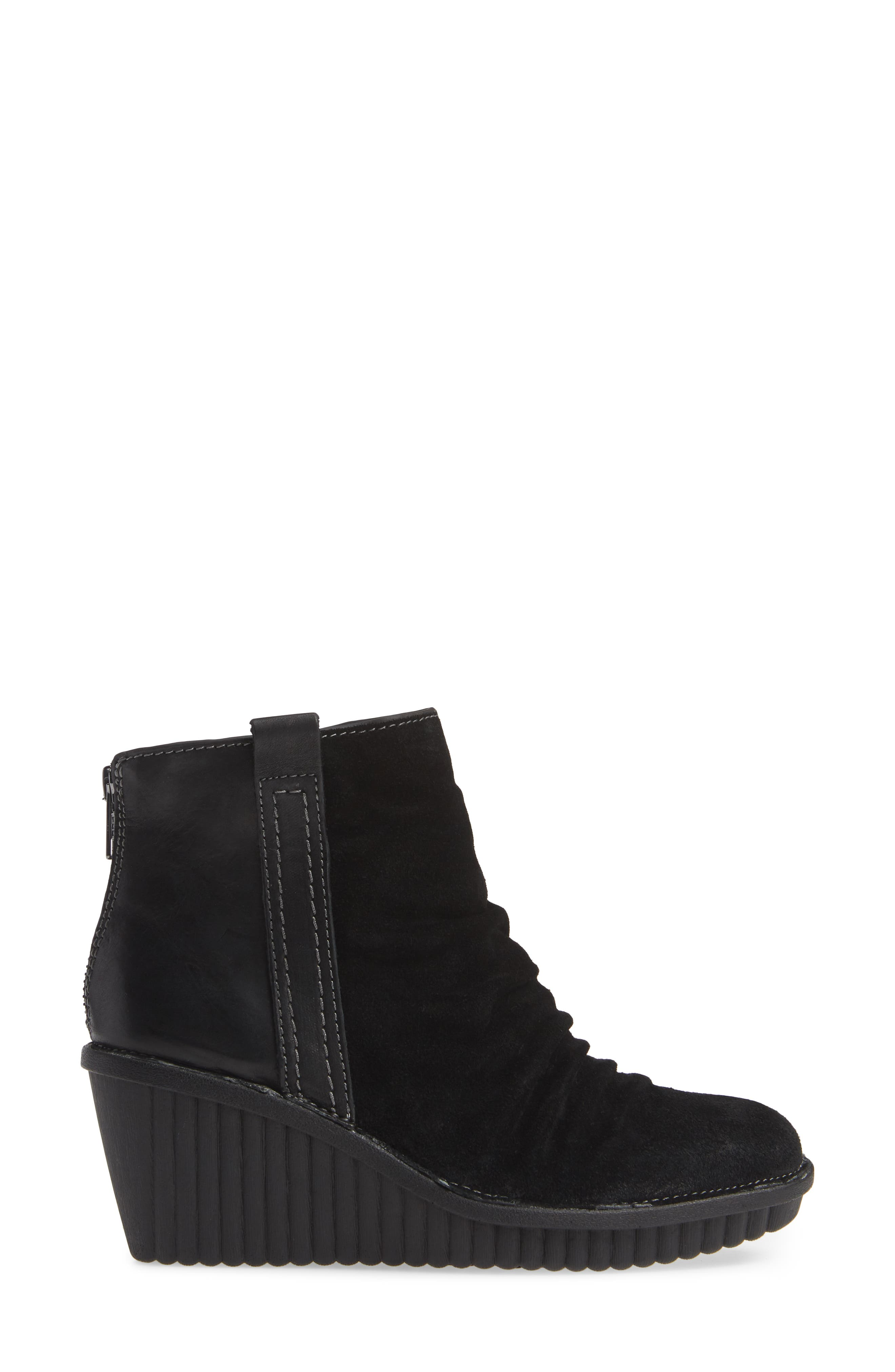 ,                             Destiny Wedge Bootie,                             Alternate thumbnail 3, color,                             BLACK LEATHER/ SUEDE