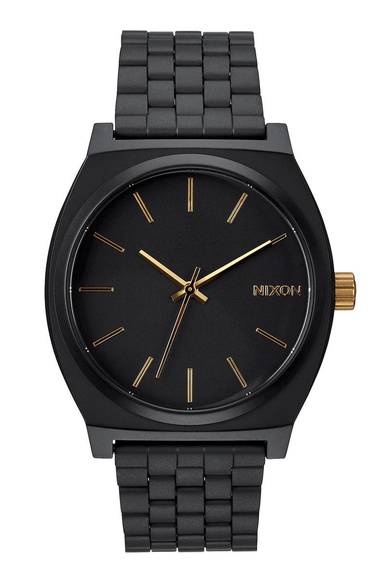 NIXON 'The Time Teller' Stainless Steel Bracelet Watch, 37mm, Main, color, MATTE BLACK/ GOLD