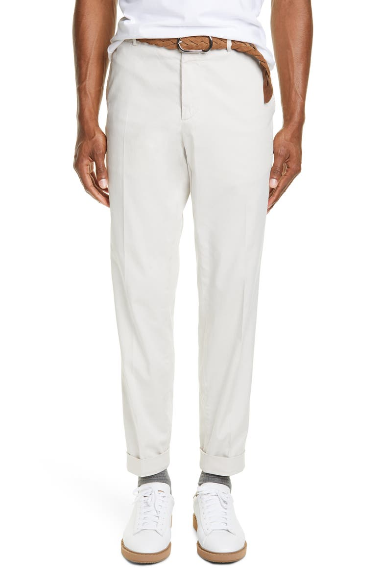 BRUNELLO CUCINELLI Flat Front Stretch Gabardine Cotton Trousers, Main, color, STONE