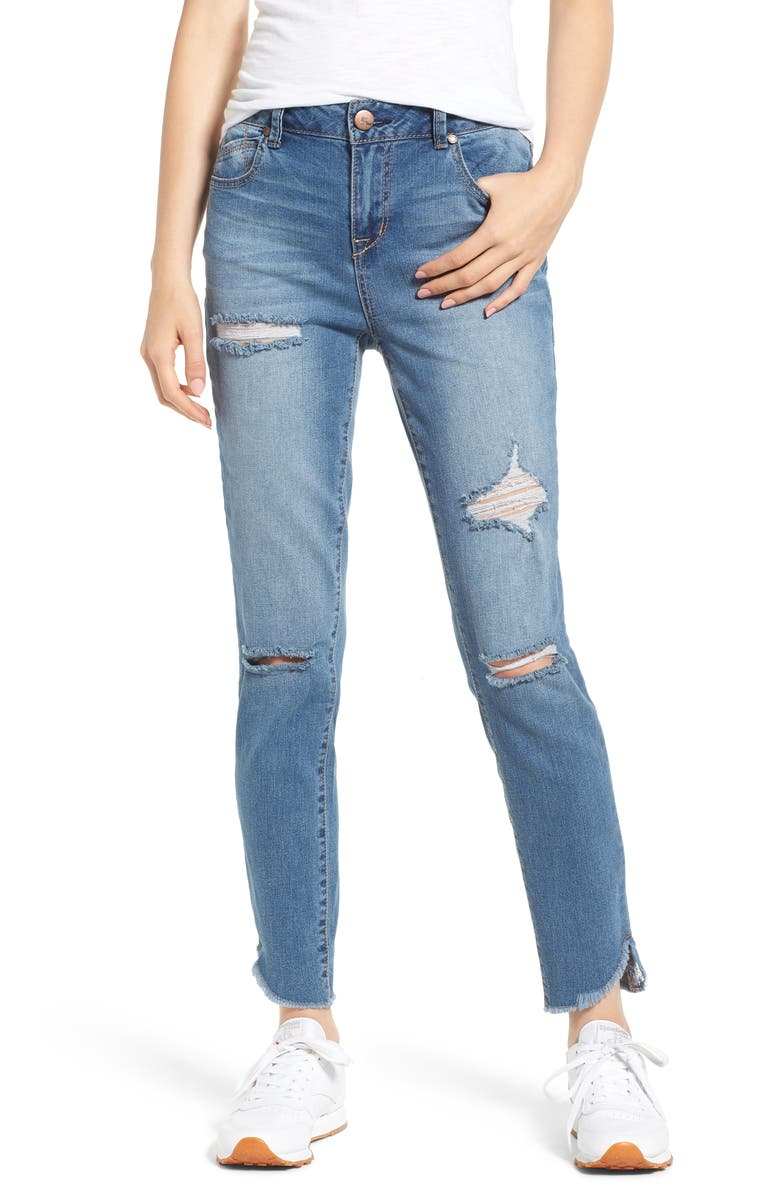 1822 DENIM Distressed Angled Step Hem Skinny Jeans, Main, color, ROSE