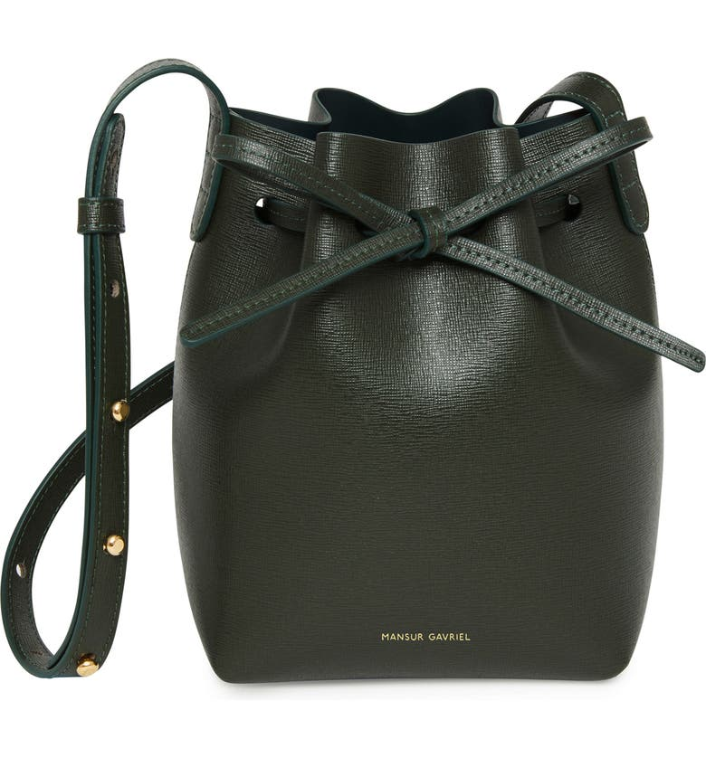 MANSUR GAVRIEL Mini Mini Leather Bucket Bag, Main, color, MOSS/ MOSS