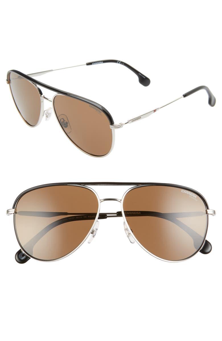 CARRERA EYEWEAR 58mm Polarized Aviator Sunglasses, Main, color, PALLADIUM BLACK/ BRONZE