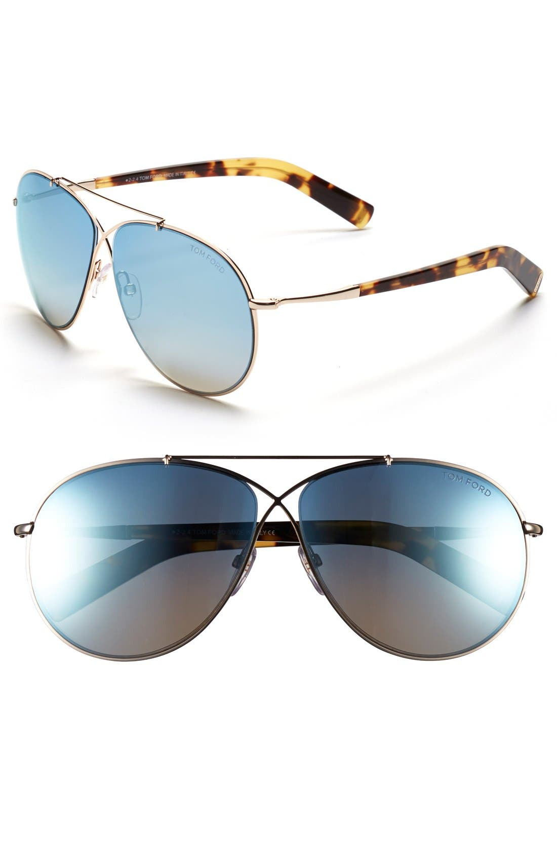 Image of Tom Ford Eva 61mm Aviator Sunglasses